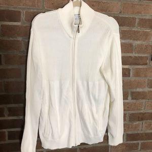 Men's Calvin Klein off white zip up sweater